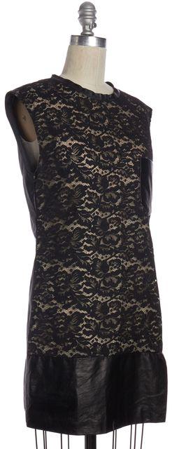 3.1 PHILLIP LIM Black Ivory Lace Silk Leather Shift Dress