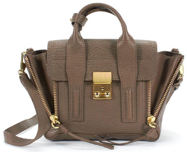 3.1 PHILLIP LIM Brown Textured Leather Pashli Mini Satchel Crossbody