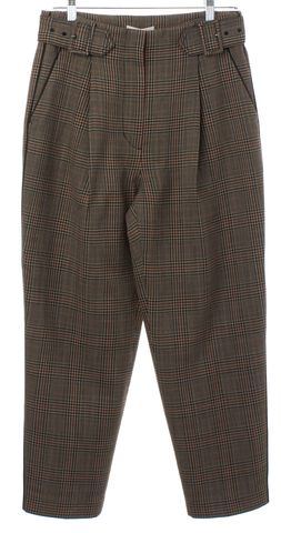 3.1 PHILLIP LIM Brown Wool Plaid Cropped Pants