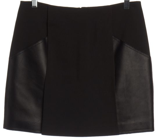 3.1 PHILLIP LIM Black Leather Panel Pleated Mini Skirt