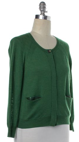 3.1 PHILLIP LIM Green Merino Wool Knit Cardigan
