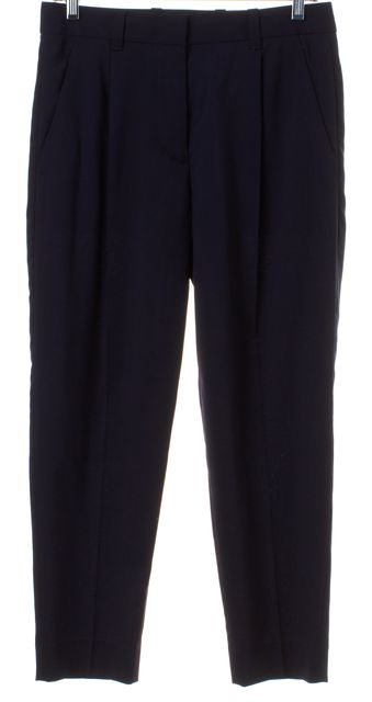 3.1 PHILLIP LIM Navy Blue Wool Pleated Cropped Trousers Pants