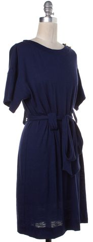 3.1 PHILLIP LIM Navy Blue Belted Studded Short Sleeve Shift Dress