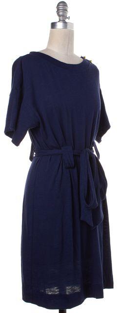 3.1 PHILLIP LIM Navy Blue Belted Studded Short Sleeve Shift Dress