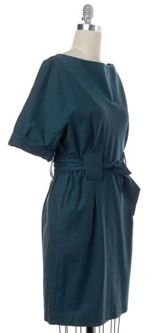 3.1 PHILLIP LIM Teal Blue Cotton Linen Tie Waist Short Sleeve Shift Dress