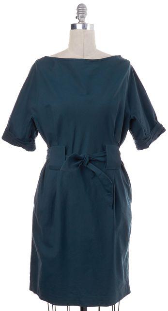 3.1 PHILLIP LIM Teal Blue Cotton Linen Tie Waist Short Sleeve Shift Dress