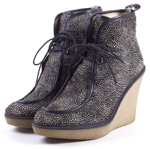 3.1 PHILLIP LIM Black Ivory Spotted Calf Hair Wedge Ankle Boots