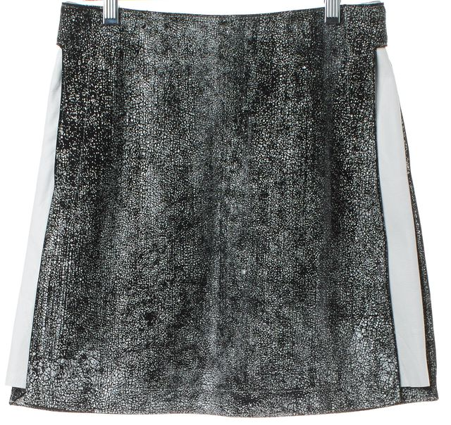 3.1 PHILLIP LIM Black White Abstract Leather Suede Pencil Skirt