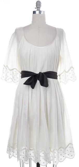 3.1 PHILLIP LIM White Pleated Black Ribbon Fit Flare Dress