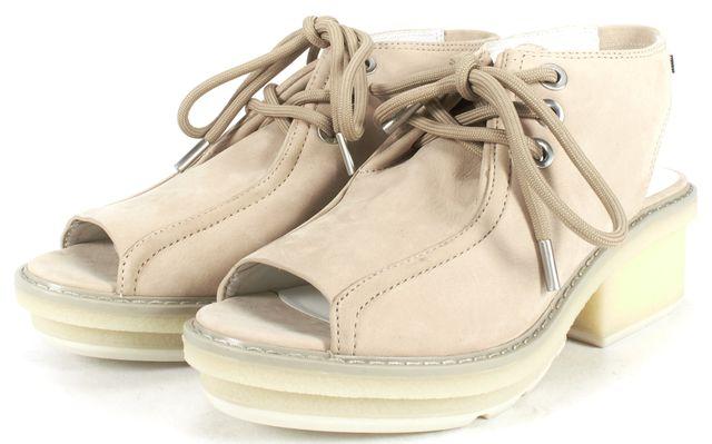 3.1 PHILLIP LIM Beige Suede Open Toe Slingback Platform Shoes