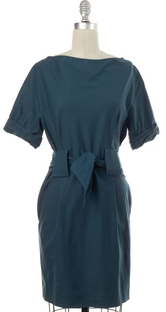 3.1 PHILLIP LIM Teal Blue Waist Tie Sheath Dress