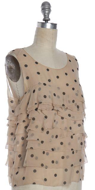 3.1 PHILLIP LIM Beige Black Polka Dot Sheer Silk Ruffle Blouse Top