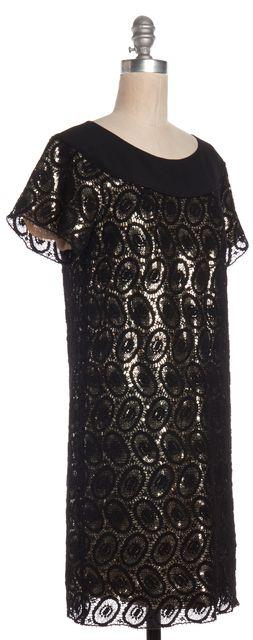 3.1 PHILLIP LIM Black Gold Crochet Overlay Short Sleeve Shift Dress