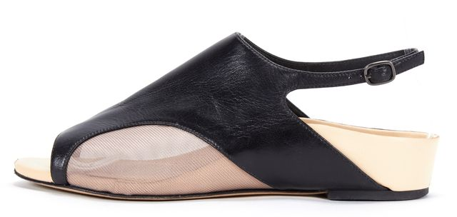 3.1 PHILLIP LIM Black Leather Mesh Slingback Sandals