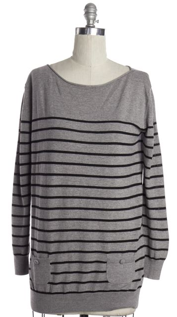3.1 PHILLIP LIM Gray Black Striped Wool Boat Neck Sweater