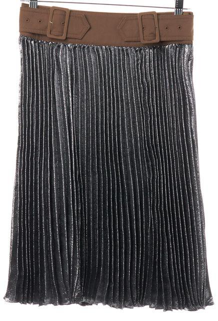 3.1 PHILLIP LIM Platinum Silver Brown Sunburst Pleated Skirt