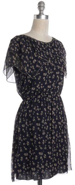 3.1 PHILLIP LIM Blue Beige Floral Silk Blouson Dress