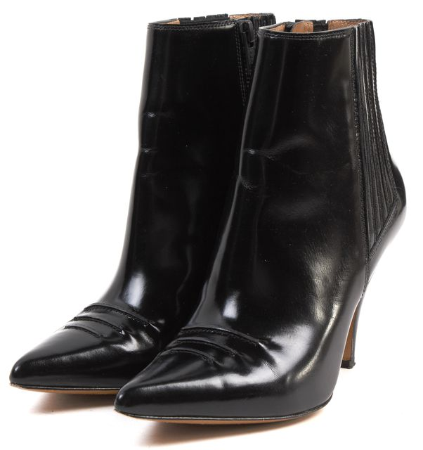 3.1 PHILLIP LIM Black Leather Delia Pointed Toe Heel Ankle Chelsea Boots
