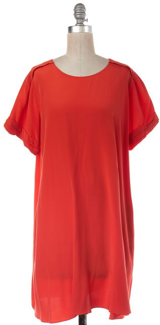3.1 PHILLIP LIM Bright Orange Short Sleeve Knee Length Silk Shift Dress