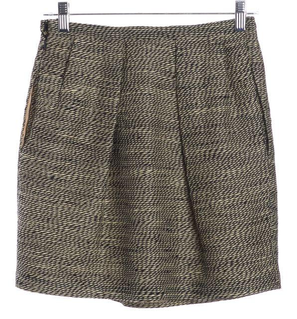 3.1 PHILLIP LIM Black Ivory Knit Wool Pleated Mini Skirt