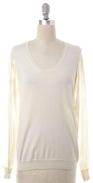 3.1 PHILLIP LIM Ivory Silk Panel Knit Scoop Neck Top