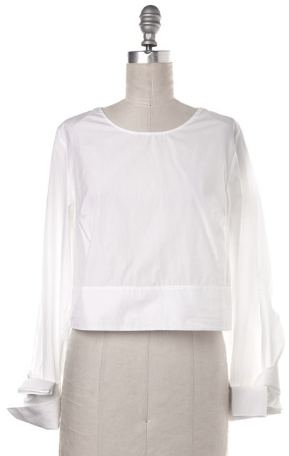 3.1 PHILLIP LIM White Cotton Long Sleeve Wrapped Cuffs Blouse Top