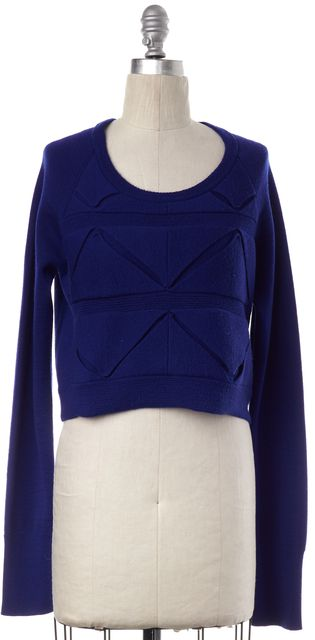 3.1 PHILLIP LIM Blue Cut Out Wool Crewneck Sweater