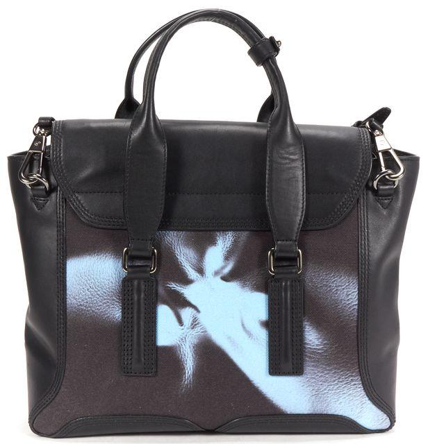3.1 PHILLIP LIM Black Leather Printed Canvas Pashli Satchel Shoulder Bag