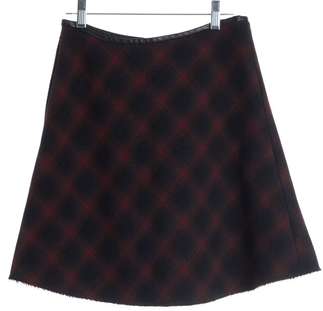 3.1 PHILLIP LIM Wine Red Navy Blue Plaids Wool A-Line Skirt