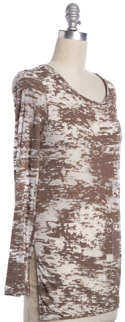 3.1 PHILLIP LIM Brown White Abstract Print Semi Sheer Knit Top