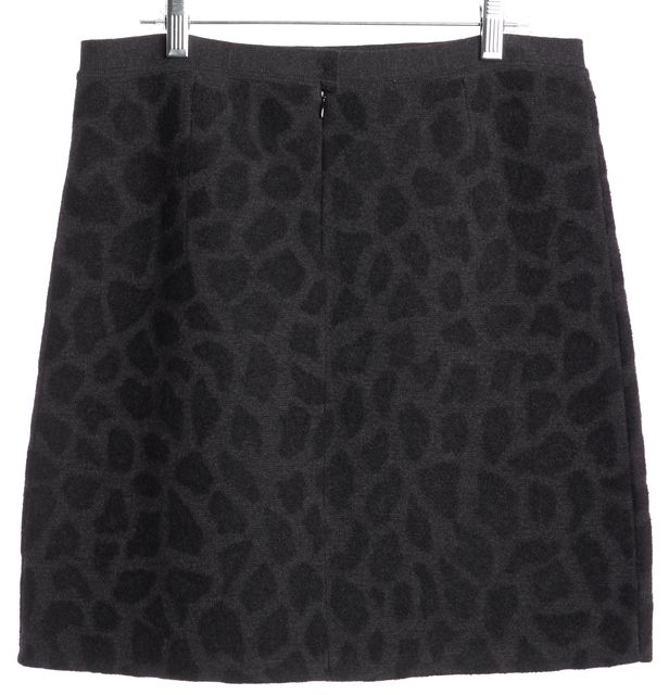 3.1 PHILLIP LIM Gray Black Abstract Animal Print Wool Mini Skirt