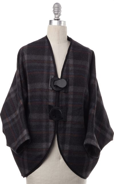 3.1 PHILLIP LIM Gray Multicolor Plaid Wool Blend Toggle Loose Draped Coat