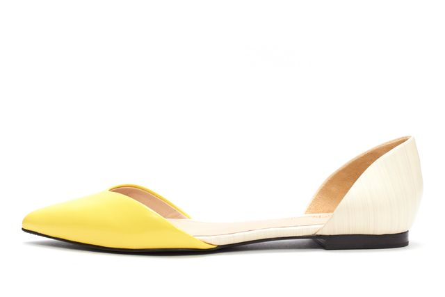 3.1 PHILLIP LIM NWB Lemon Yellow Ivory D'orsay Devon Flats