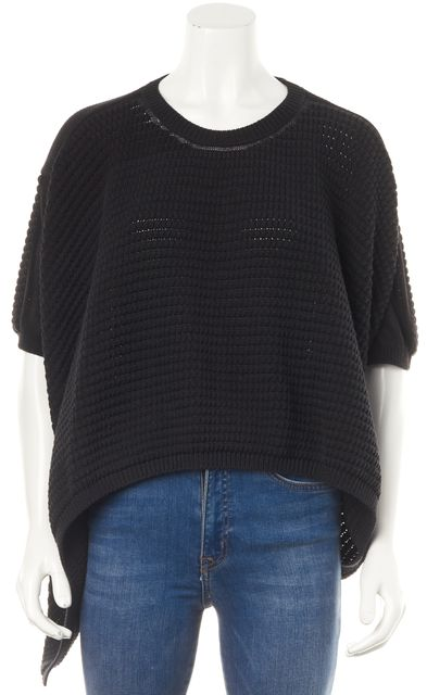 3.1 PHILLIP LIM Black Relaxed Fit Drape Side Casual Crewneck Sweater