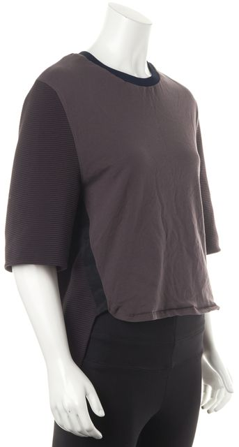 3.1 PHILLIP LIM Brown Blue Black Ribbed Knit Casual Blouse Top
