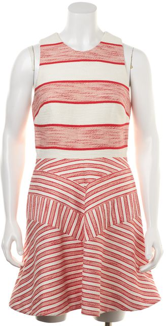 3.1 PHILLIP LIM Ivory Red Striped Color-Block Fit & Flare Casual Dress