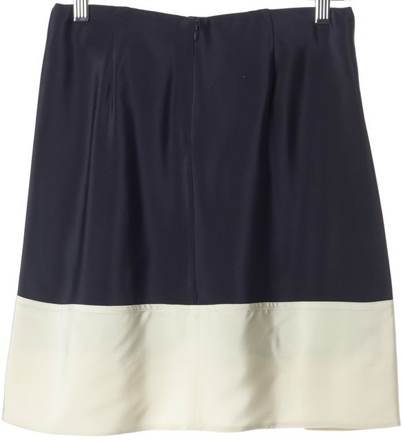 3.1 PHILLIP LIM Navy Blue Ivory Colorblock Silk Above Knee Pleated Skirt