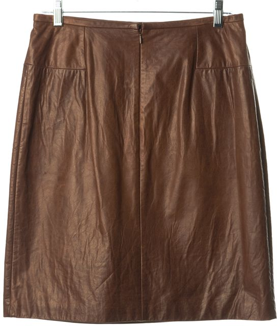 3.1 PHILLIP LIM Brown Leather Above Knee Pocket Front A-Line Skirt