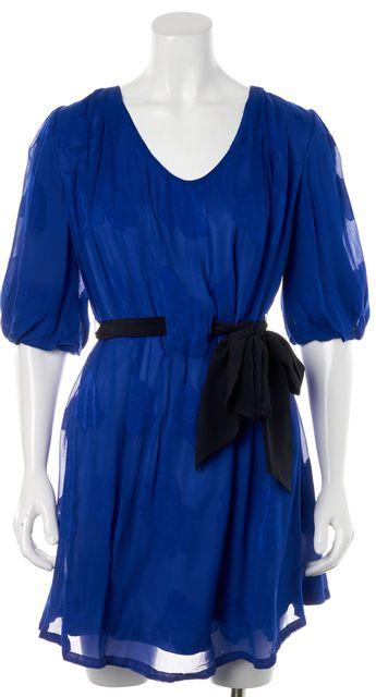 3.1 PHILLIP LIM Cobalt Blue Black Floral Silk Blouson Dress