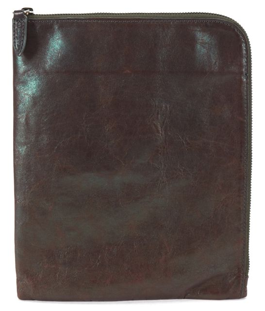 3.1 PHILLIP LIM Brown Distressed Leather Zip Around iPad Holder Tablet Case