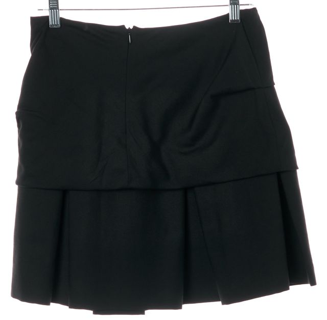 3.1 PHILLIP LIM Black Wool Layered Gathered Side A-Line Pleated Skirt