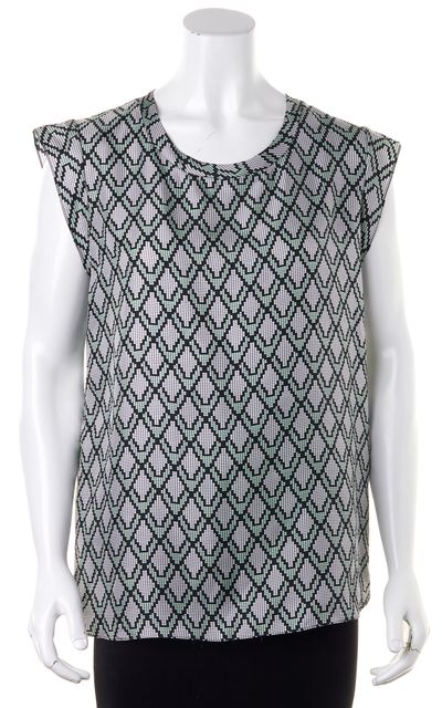 3.1 PHILLIP LIM Green Black White Geometric Print Relaxed Fit Silk Blouse