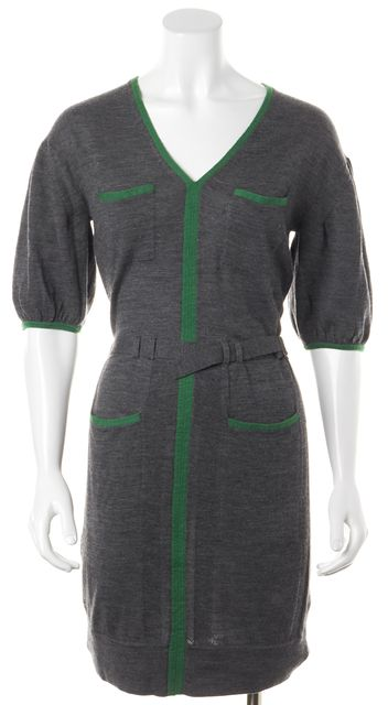 3.1 PHILLIP LIM Gray Green Shift Belted Sweater Dress