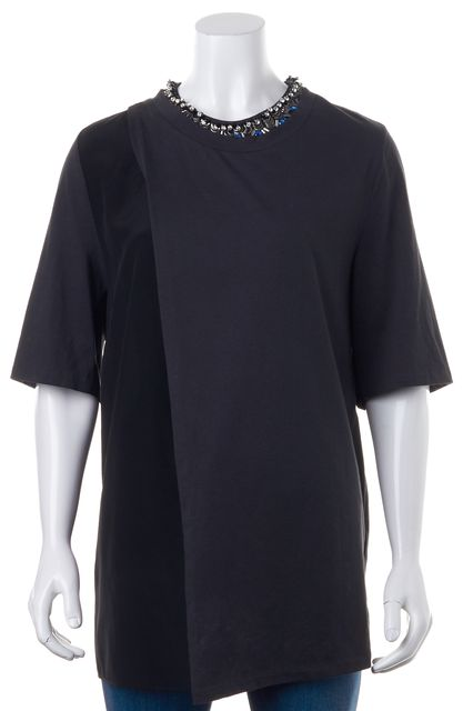 3.1 PHILLIP LIM Black Gray Colorblock Embellished Wrap Effect Blouse Top