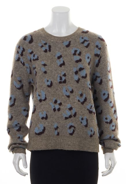3.1 PHILLIP LIM Gray Blue Animal Printed Chunky Knit Crewneck Sweater