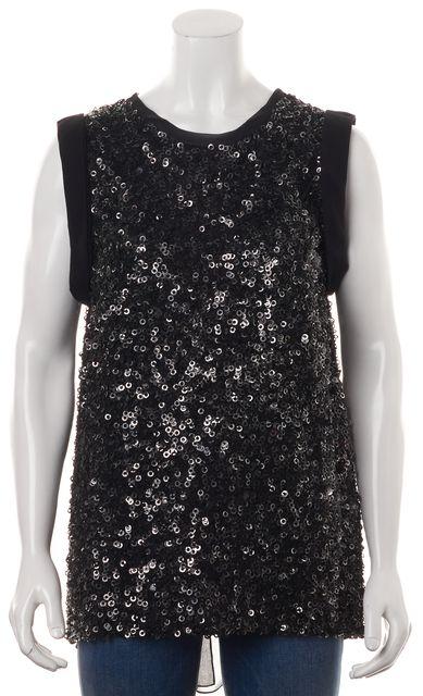 3.1 PHILLIP LIM Black Sequin Silk Sleeveless Semi Sheer Blouse Top