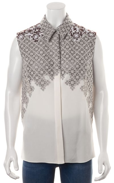 3.1 PHILLIP LIM Ivory Gray Floral Embroidered Silk Button Down Shirt