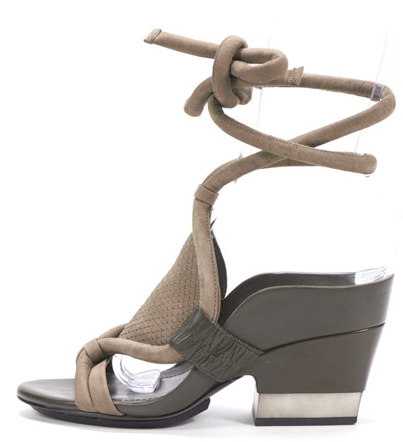 3.1 PHILLIP LIM Gray Suede Leather Rope Ankle Lace Up Sandal Heels