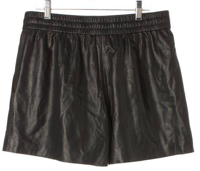 3.1 PHILLIP LIM Black Leather Drawstring Elastic Waist Casual Shorts