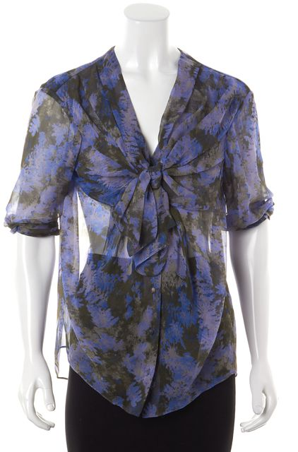 3.1 PHILLIP LIM Blue Gray Abstract Silk Draped Sheer Blouse Top